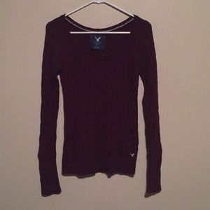 AEO maroon cable knit  sweater